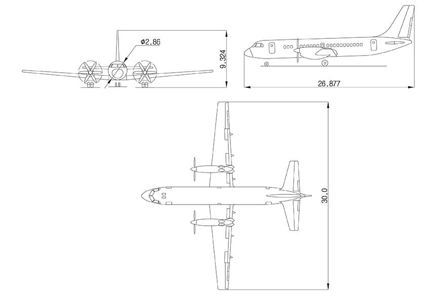 Основные размеры Ил-114-300